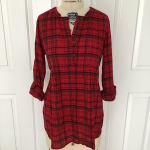 Anthropologie Holding Horses Red Plaid Tunic